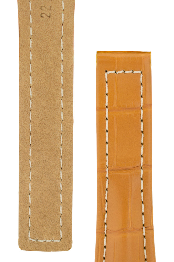 Hirsch Navigator Genuine Alligator Deployment Watch Strap in Honey Brown (Underside & Tapers)
