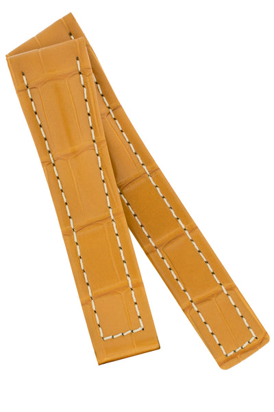 Hirsch NAVIGATOR Alligator Deployment Watch Strap in HONEY