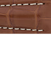 Hirsch Navigator Genuine Alligator Deployment Watch Strap in Gold Brown (Close-Up Texture Detail)