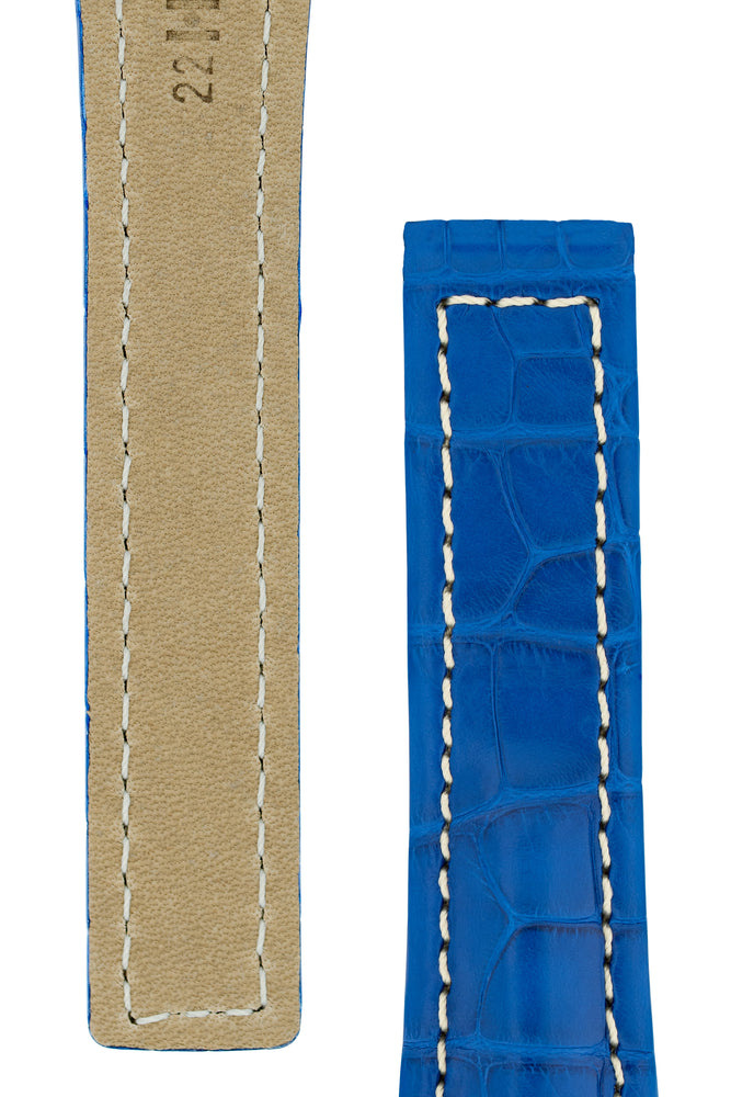 Hirsch NAVIGATOR Alligator Deployment Watch Strap in ROYAL BLUE