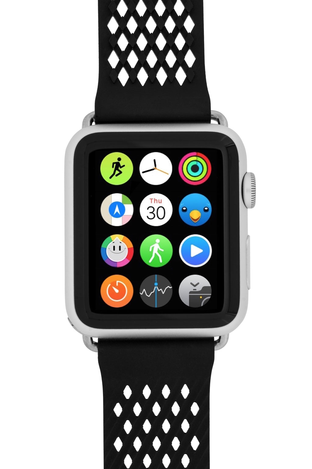 Noomoon LABB Interlocking Watch Strap for Apple Watch in BLACK with SILVER Hardware