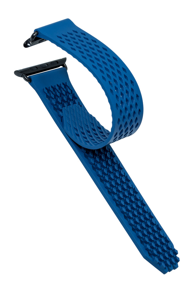 Load image into Gallery viewer, Noomoon LABB Interlocking Watch Strap for Apple Watch in BLUE with BLACK Hardware