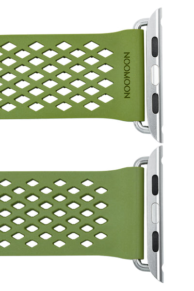 Noomoon LABB Interlocking Watch Strap for Apple Watch in GREEN with SILVER Hardware