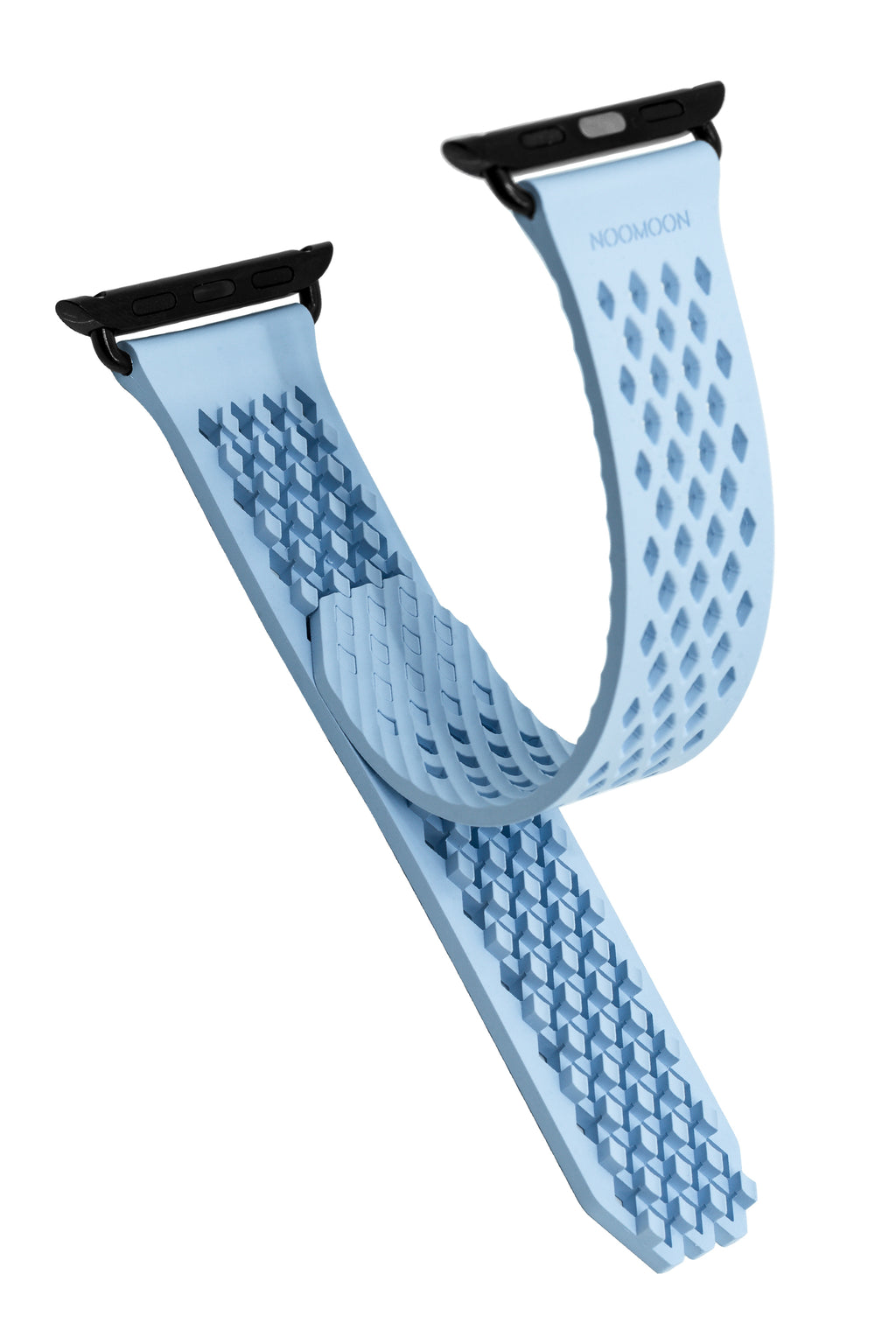 Noomoon LABB Interlocking Watch Strap for Apple Watch in LIGHT BLUE with BLACK Hardware