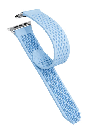 Noomoon LABB Interlocking Watch Strap for Apple Watch in LIGHT BLUE with SILVER Hardware