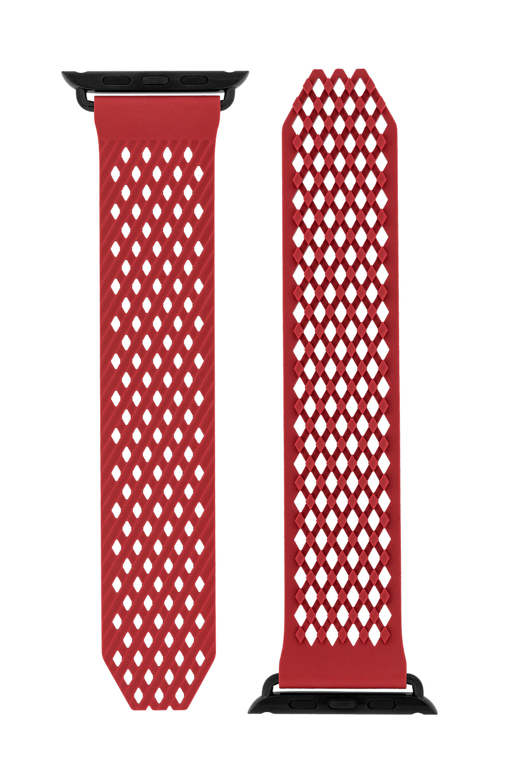 Noomoon LABB Interlocking Watch Strap for Apple Watch in RED with BLACK Hardware