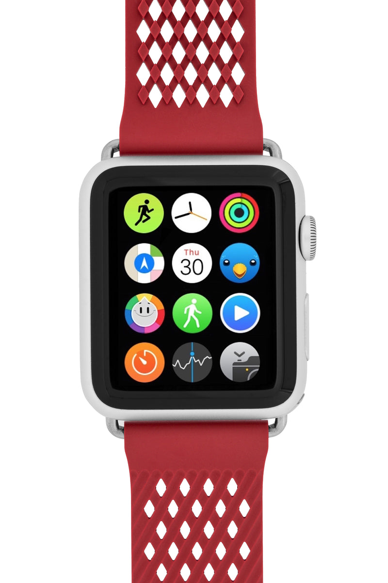 Noomoon LABB Interlocking Watch Strap for Apple Watch in RED with SILVER Hardware