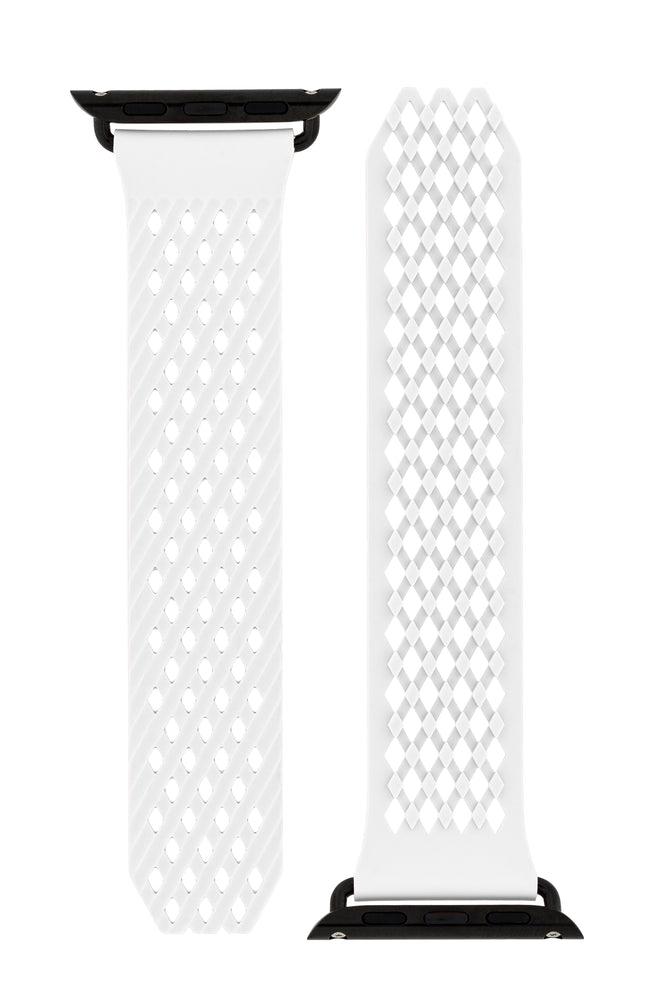 Noomoon LABB Interlocking Watch Strap for Apple Watch in WHITE with BLACK Hardware