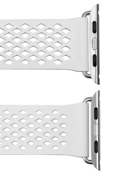 Noomoon LABB Interlocking Watch Strap for Apple Watch in WHITE with SILVER Hardware