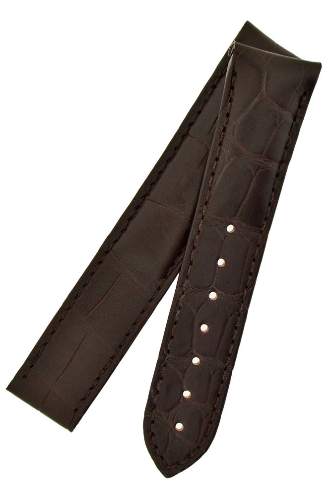 Load image into Gallery viewer, OMEGA 98000216 Speedmaster Alligator Leather Deployment Watch Strap in BROWN