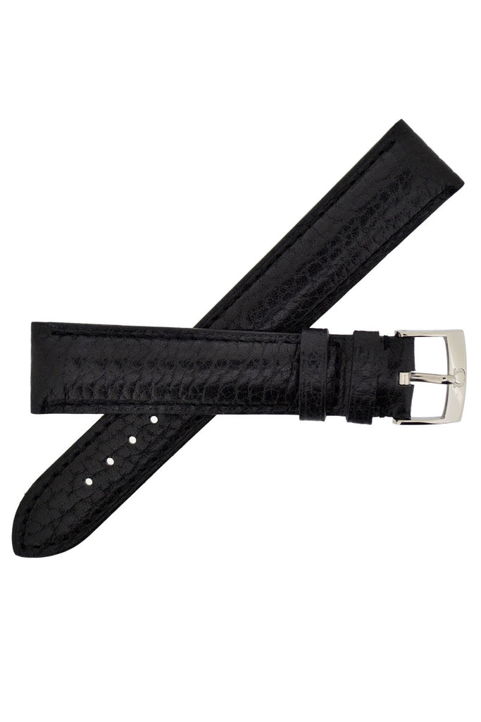OMEGA Caribou Leather Watch Strap in BLACK