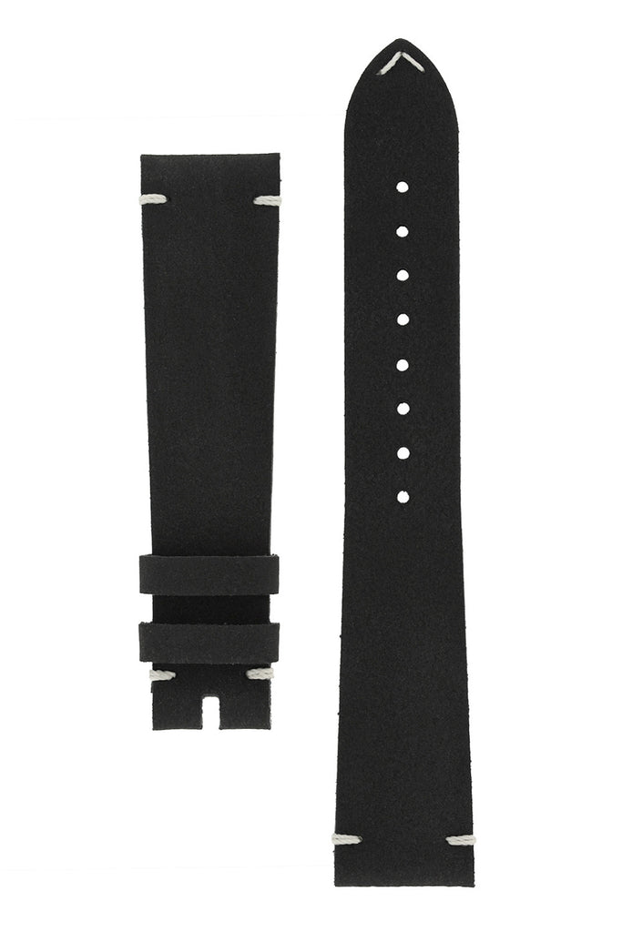 OMEGA '1957' Vintage Style Leather Watch Strap in BLACK