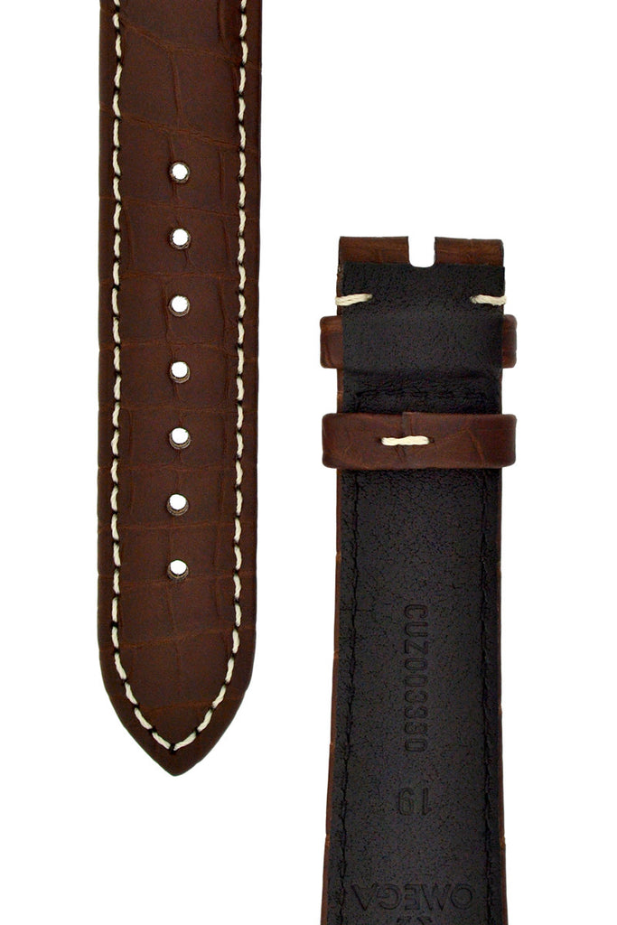 OMEGA Alligator Leather Watch Strap in BROWN