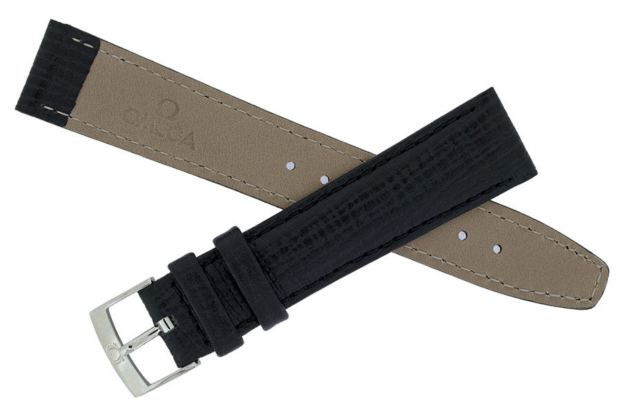 OMEGA Vintage Leather Watch Strap and Buckle in BLACK