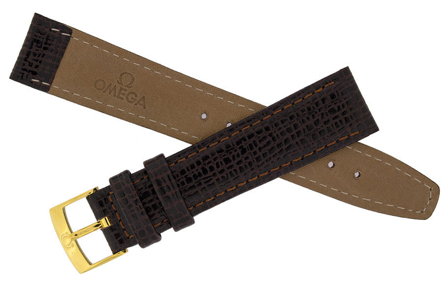 OMEGA Vintage Leather Watch Strap and Buckle in BROWN