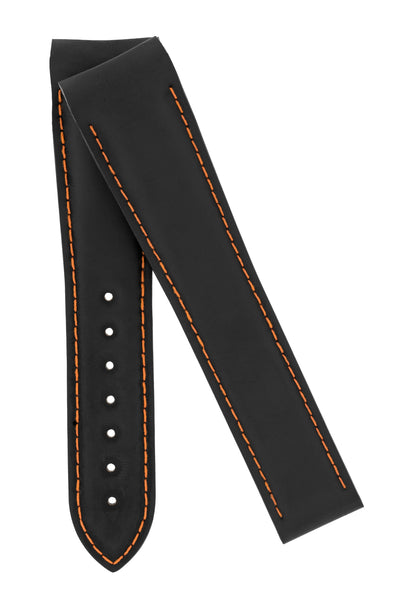OMEGA Planet Ocean Deployment Rubber Watch Strap in BLACK / ORANGE