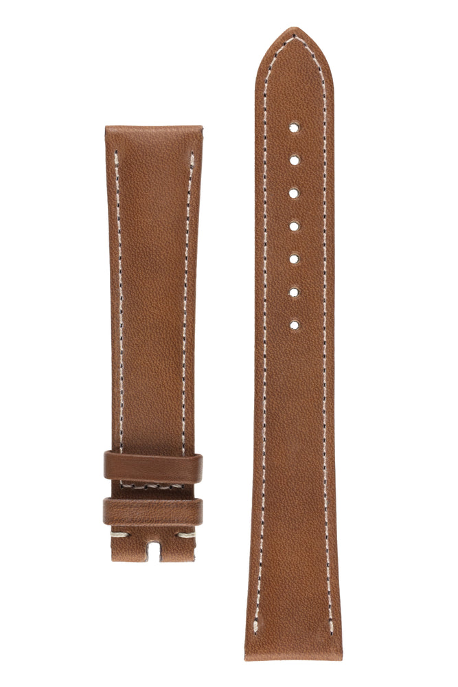 OMEGA 98000409L Speedmaster Long Leather Watch Strap in MID BROWN
