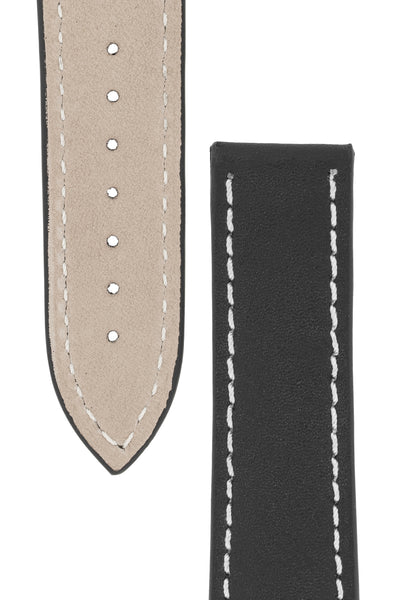 Omega-Style Calf Deployment Watch Strap in BLACK
