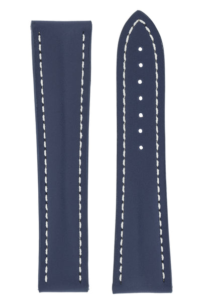 Omega-Style Calf Deployment Watch Strap in BLUE