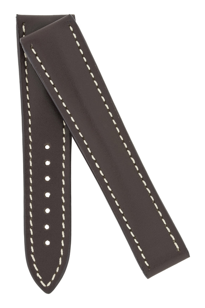 Omega-Style Calf Deployment Watch Strap in BROWN