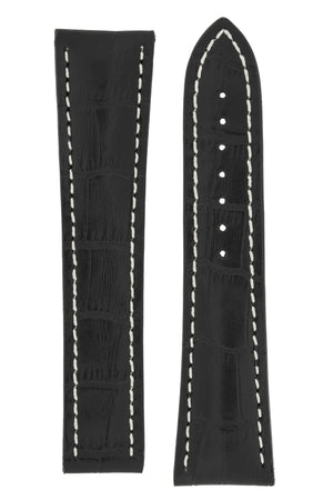 Omega-Style Alligator Embossed Leather Deployment Watch Strap in BLACK