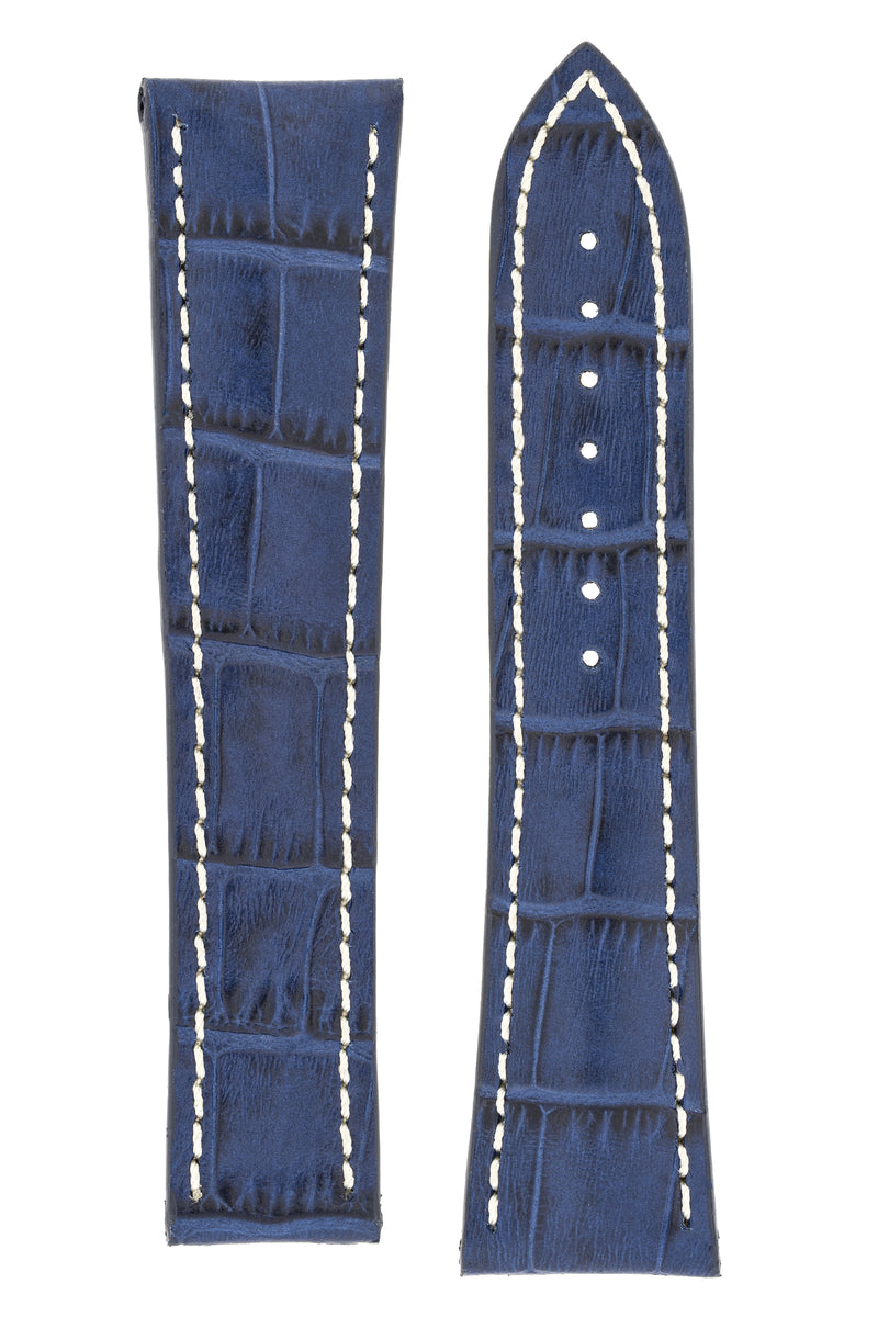 Omega-Style Alligator Embossed Leather Deployment Watch Strap in BLUE