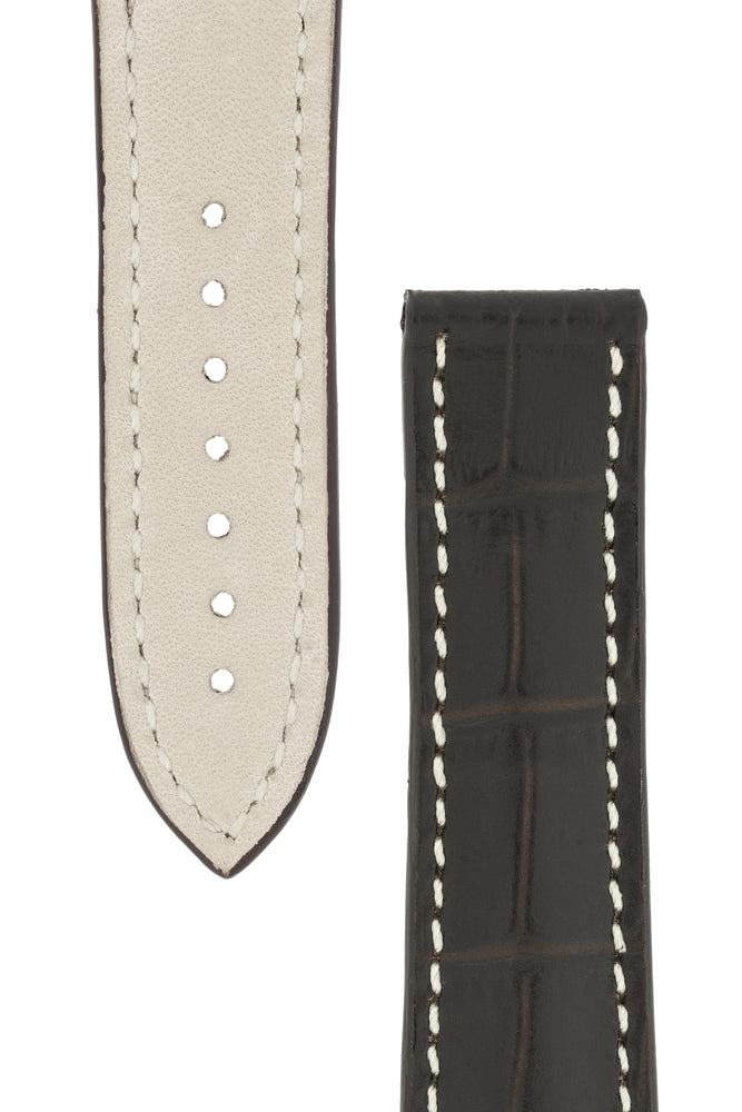 Omega-Style Alligator Embossed Leather Deployment Watch Strap in BROWN