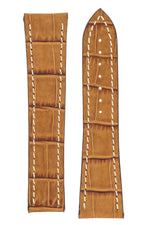 Omega-Style Alligator Embossed Leather Deployment Watch Strap in GOLD BROWN