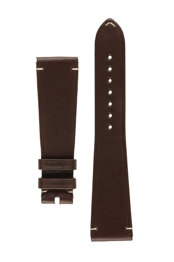 OMEGA CUZ014660 Vintage Style 21mm Leather Watch Strap in DARK BROWN