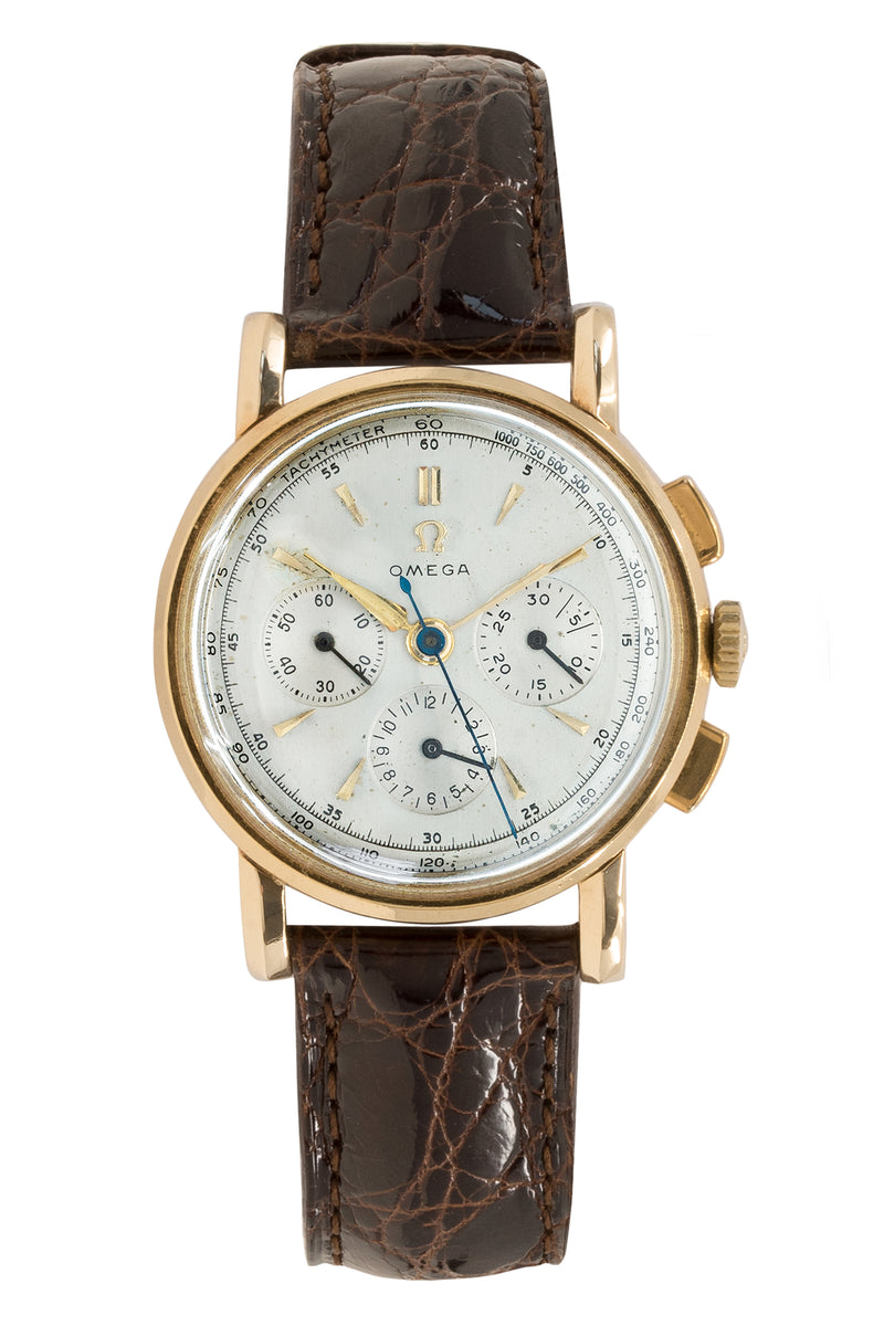 OMEGA Vintage Chronograph (1945-46) with 18K Gold Case – Silver Dial