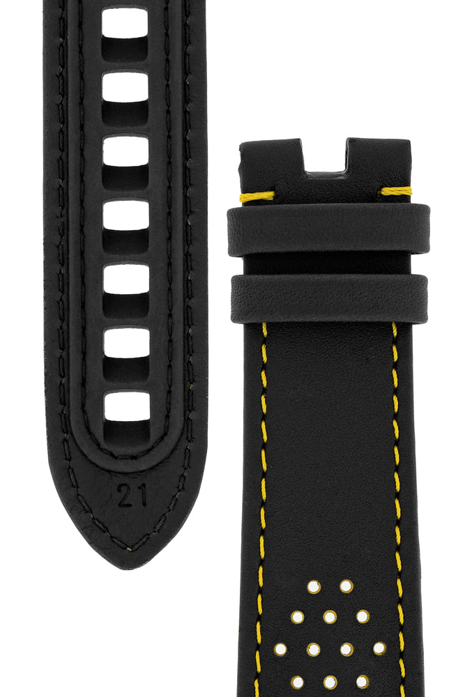 OMEGA CUZ010862 Speedmaster Apollo 8 Perforated Leather Watch Strap in BLACK & YELLOW