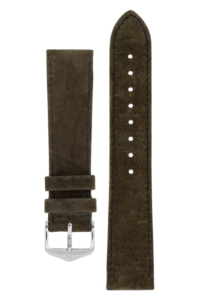 Hirsch OSIRIS Calf Leather With Nubuck Effect Watch Strap in BROWN
