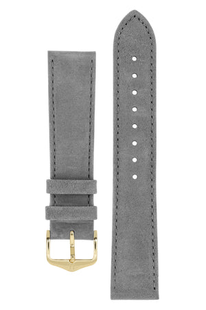 Hirsch Osiris Calf Leather With Nubuck Effect Watch Strap in Grey (with Polished Gold Steel H-Standard Buckle)