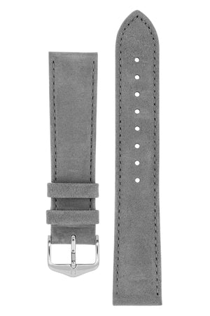 Hirsch Osiris Calf Leather With Nubuck Effect Watch Strap in Grey (with Polished Silver Steel H-Standard Buckle)