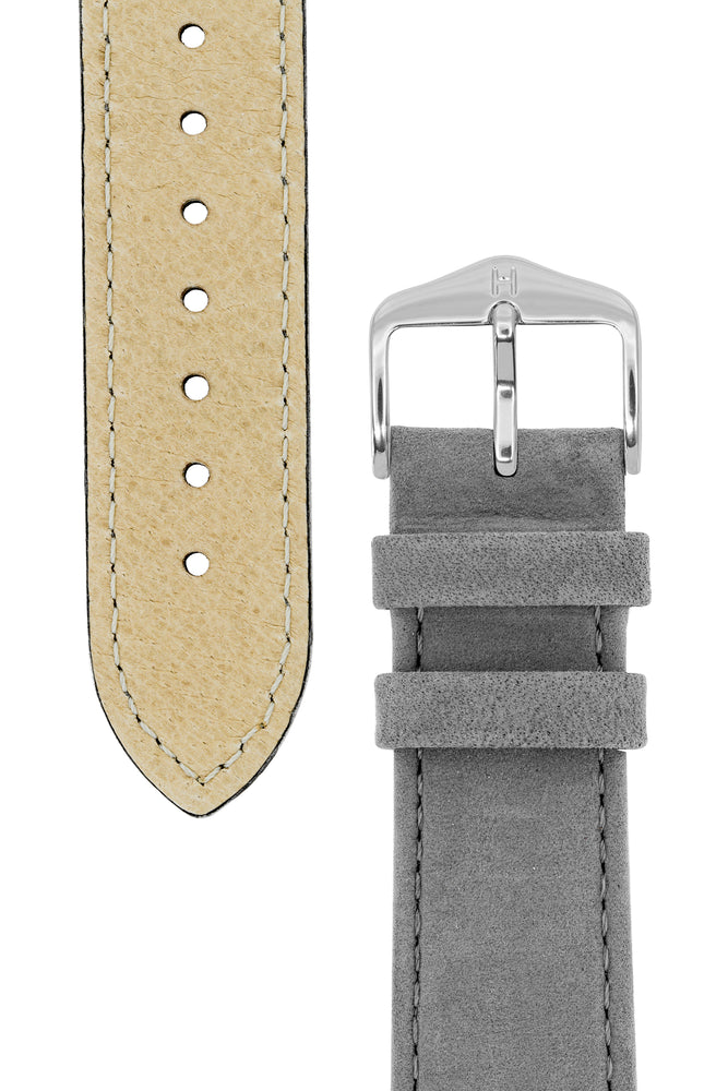 Hirsch Osiris Calf Leather With Nubuck Effect Watch Strap in Grey (Underside & Tapers)