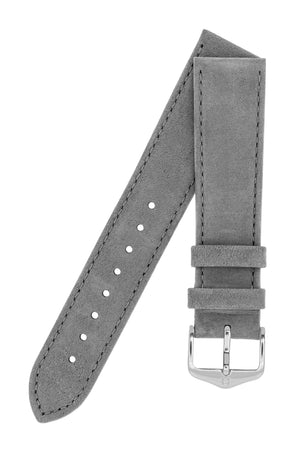 Hirsch OSIRIS Calf Leather With Nubuck Effect Watch Strap in GREY