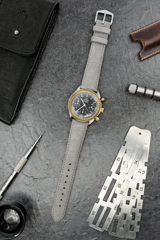 Hirsch Osiris Calf Leather With Nubuck Effect Watch Strap in Grey (Promo Photo)