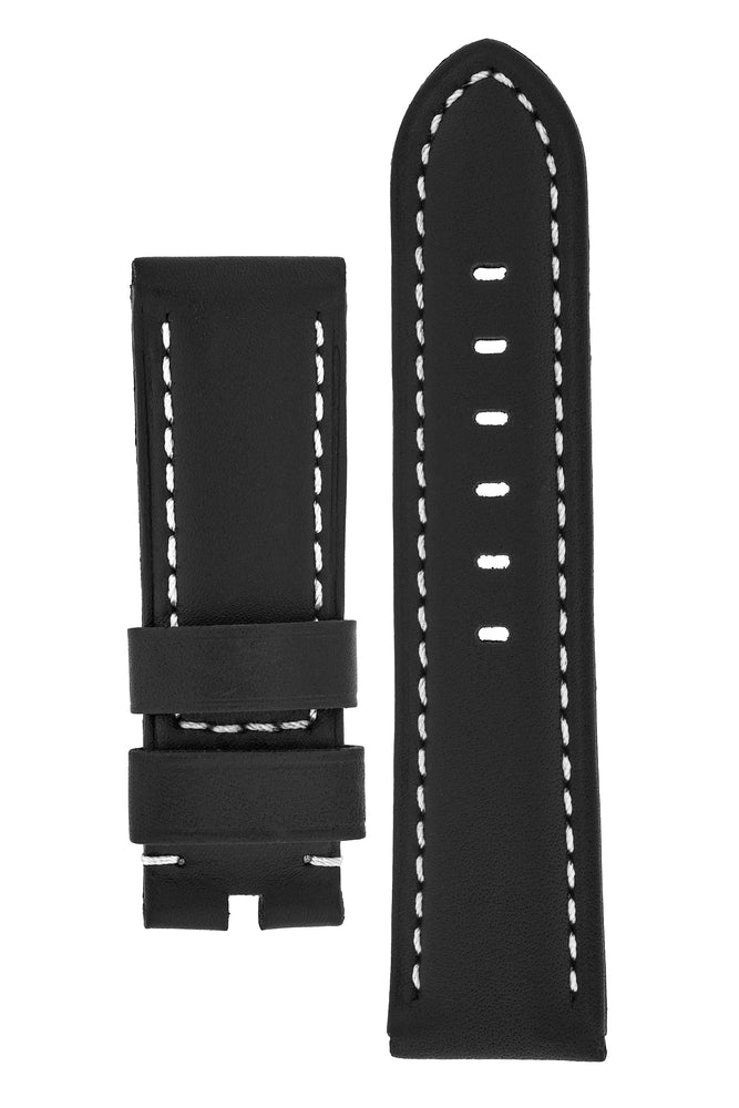Panerai-Style Calf Leather Watch Strap in BLACK