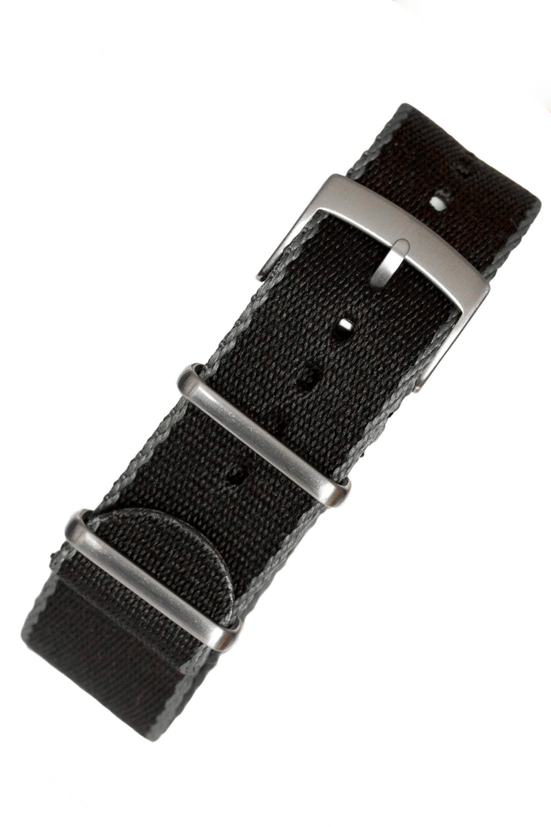Premium NATO Watch Strap in Black with Grey Edges