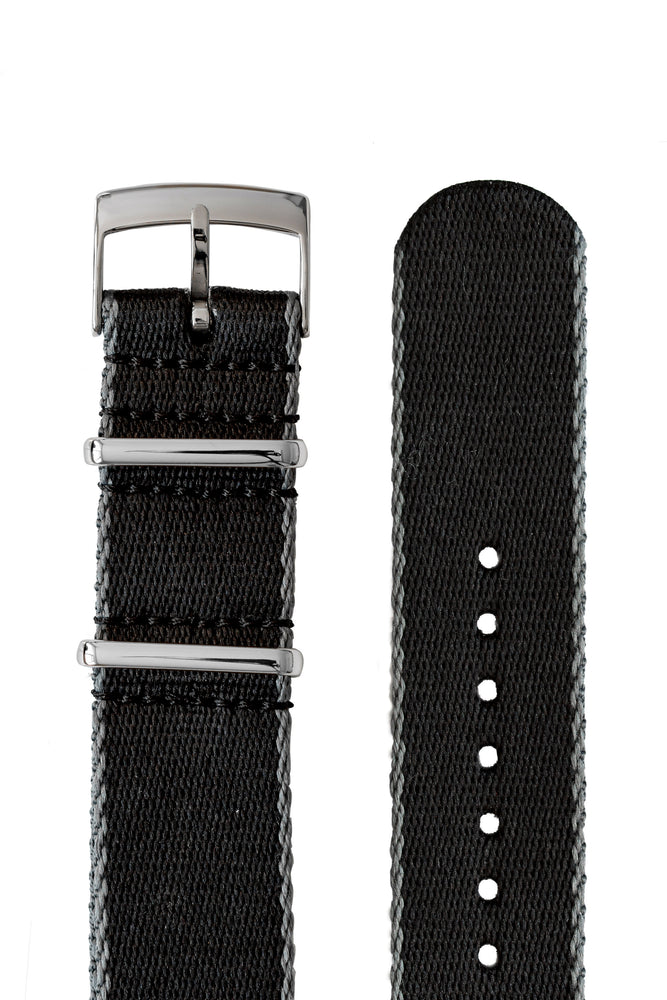 Load image into Gallery viewer, Premium NATO Watch Strap in Black with Grey Edges
