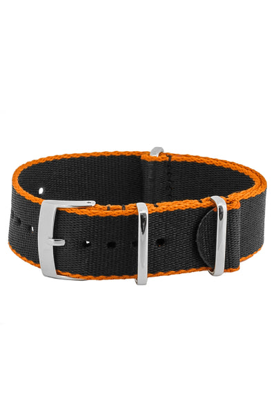 Premium NATO Watch Strap in Black with Orange Edges