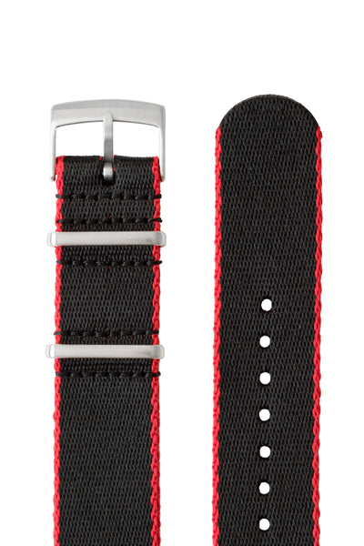 Premium NATO Watch Strap in Black with Red Edges