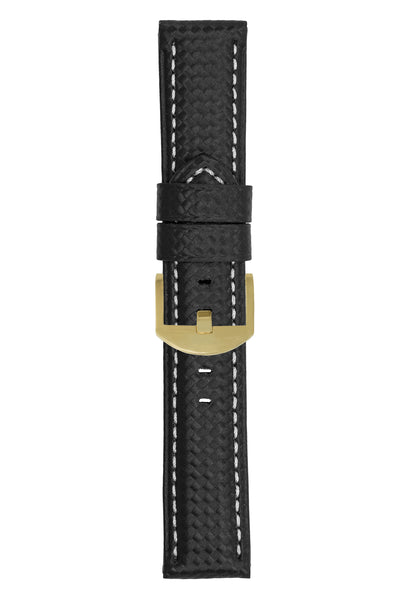 Panerai-Style Carbon Leather Watch Strap in BLACK