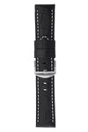 Panerai-Style Alligator-Embossed Watch Strap in BLACK / WHITE
