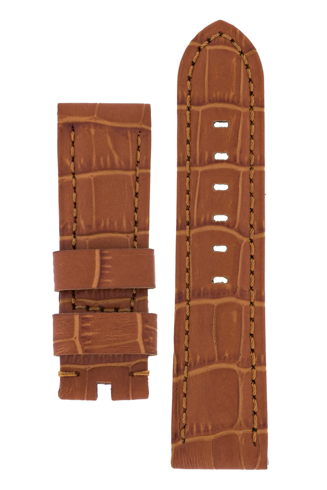 Panerai-Style Alligator-Embossed Watch Strap in BROWN / BROWN