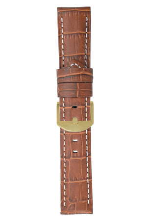 Panerai-Style Alligator-Embossed Watch Strap in BROWN / WHITE
