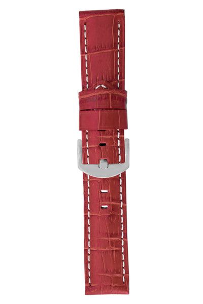 Panerai-Style Alligator-Embossed Watch Strap in RED
