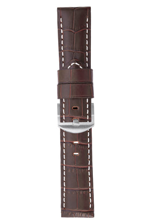 Panerai-Style Alligator-Embossed Watch Strap in TABAC / WHITE
