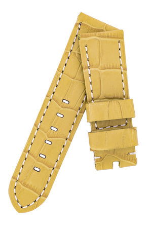 Panerai-Style Alligator-Embossed Watch Strap in YELLOW