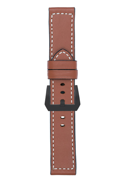 Panerai-Style Marino Leather Watch Strap in GOLD BROWN